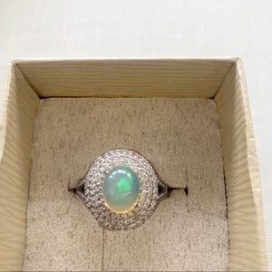 NWT Ethiopian Opal White Zircon Sterling Ring